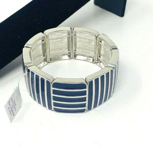 Lia Sophia BARCODE Stretch Bangle Bracelet Silver